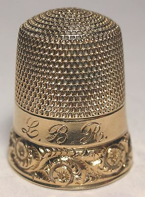 Simons 10K Gold Two Band Thimble with Floral Scrolls Engraved 'L.B.R.'  c. 1920s