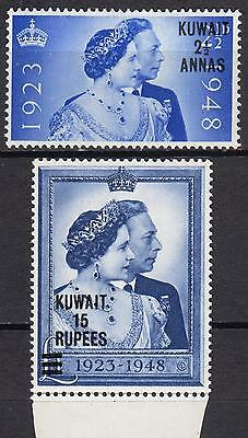 Kuwait 1948 Royal Silver Wedding, SG 74 & 75, Mint Hinged, Cat £40