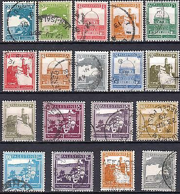 Palestine 1927 issue used set, SG 90 - 103b, including 93a & 97a Coils, Cat £110