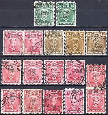 Rhodesia, Misc used 1913 Admirals, condition variable