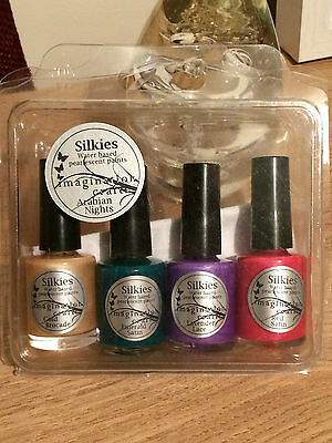 New Imagination Crafts Silkies Water Based Pearlescent Paints Arabian Nights X4