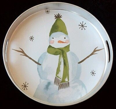 Holiday Christmas Winter Snowman Snowflakes Kitchen Serving Drinks Handles Tray
