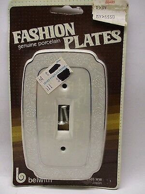 Vintage Porcelain Light Switch Plate Cover Off White /Silver JAPAN~New