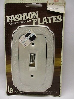 Vintage Porcelain Light Switch Plate Cover White /Silver JAPAN~New