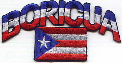 """Puerto Rico BORICUA / Flag (Arch) Embroidered Patch 4.5""""x2.25"""""""