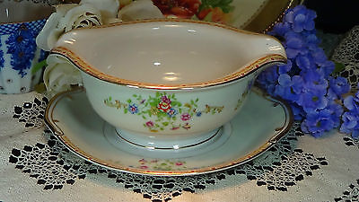 Imperial Japan Gravy Boat with Liner Plate Floral Bouquet