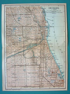 1899 MAP by Baedeker - USA CHICAGO City Plan DOwntown Illinois