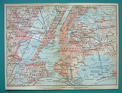 1899 MAP by Baedeker - USA NEW YORK CITY & Environs