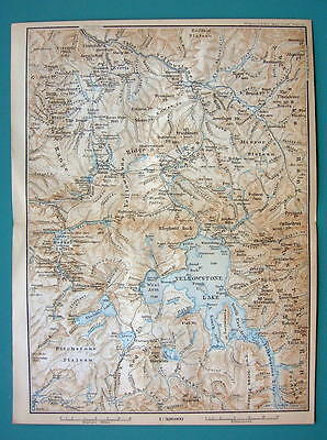1899 MAP by Baedeker - USA YELLOWSTONE Park Wyoming