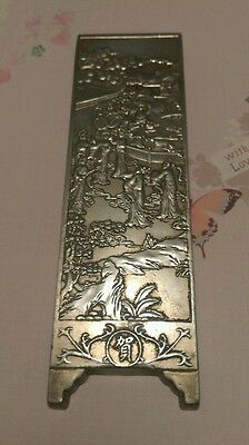 Chinese silver art bar signed on back