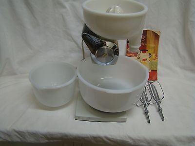 VTG Sunbeam Deluxe Mixmaster Standing Mixer BOWLS BEATERS JUICER 1950's MANUAL