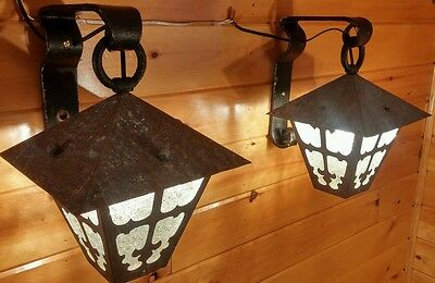 Antique Cast & Wrought Iron Hanging Mission-Crafts Porch Light Sconces,VERY RARE