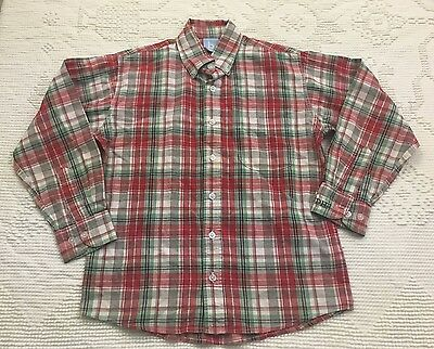 Bella Bliss Red Green Blue Ivory Plaid Button Down Shirt Size 8