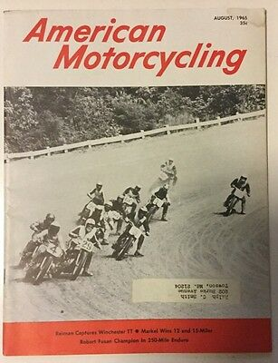 AMERICAN MOTORCYCLING MAGAZINE August 1965 Harley Davidson Indian Motorcycle