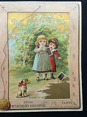 LARGE 1891 McLAUGHLIN'S COFFEE TRADE CARD BEWARE OF THE DOG