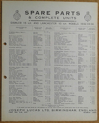 Daimler 15hp & Lanchester 10hp 1932-34  Lucas Parts List 107  Others available