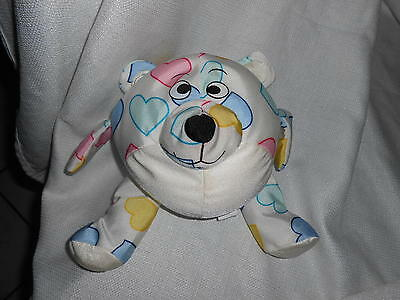 """My Gifts Ltd White Colorful Hearts Plush Bear Micro Bead Pillow Round Ball 8"""""""
