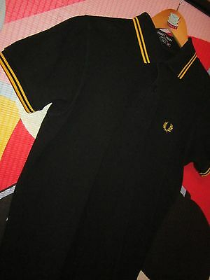 "VINTAGE FRED PERRY small BLACK & GOLD POLO TOP 36"" MOD WELLER VGC"