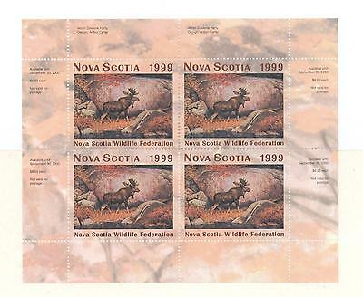 NOVA SCOTIA WILDLIFE MINIATURE SHEET 1999 NSW8b MOOSE BY DWAYNE HARTY