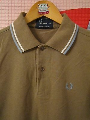 "FRED PERRY extra small POLO TOP 34"" stone & blue MOD WELLER VGC"