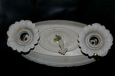 Antique Victorian Ceiling Fixture Double Light Flush Mount Art Decor 30's Metal