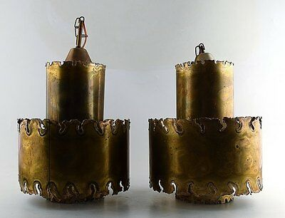Svend Aage Holm Sorensen. A pair of ceiling pendant lamps in brass. 60 / 70s.
