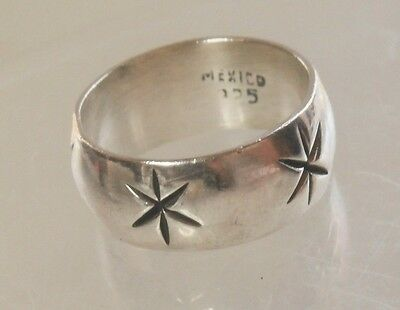 Mexico Artisan Sterling Silver Shadowbox Star Wide Band Ring Size 8 3/4