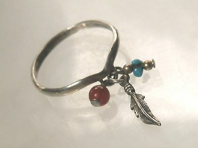 Southwestern Shube Sterling Silver Bead and Feather Charms Dangle Ring Sz 8 1/4