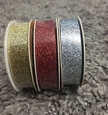 Christmas Glitter Tape 3 Meters, Silver, Gold & Red . FREE 1st CLASS DEL £3.99