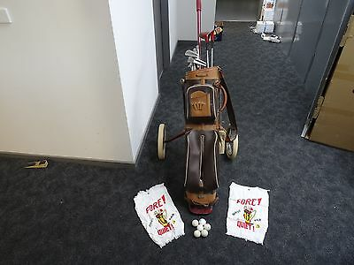 Vintage Golf Clubs Cruise Brand by Frank Carew with East Bros Clubs and caddy