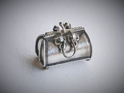 "Vintage REO 1.25"" Sterling Silver Luggage Handbag Purse Trinket Snuff Pendant"