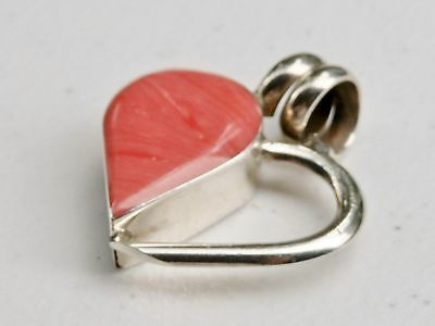 "Mexico 1 5/8"" Sterling Silver Peachy Pink Open Heart Pendant"