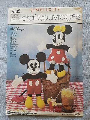 Simplicity vintage pattern 7635 Mickey & Minnie Mouse Dolls 18""
