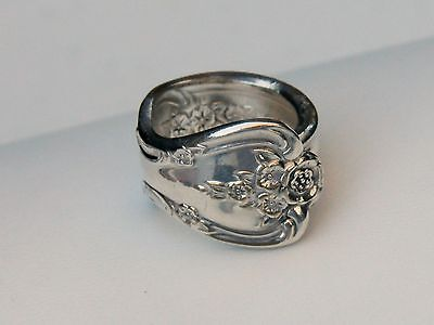 Vintage Original Rogers Silverplate Floral Rose Spoon Wrap Ring Size 5