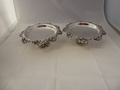 Gorgeous Pair of Vintage Tiffany Sterling Silver Compotes Roses