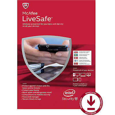McAfee LiveSafe 2017 Latest Unlimited Devices PCs Mac Android iOS 1 Year License