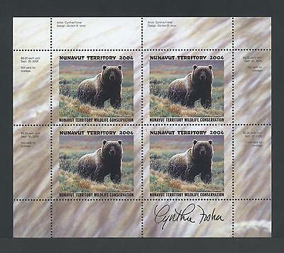 NUNAVUT WILDLIFE SIGNED MINIATURE SHEET 2004 NUW6c GRIZZLY BEAR/ CYNTHIE FISHER