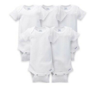 Gerber Bonus 5-Pack Unisex Short Sleeve White Onesies BABY CLOTHES SHOWER GIFT