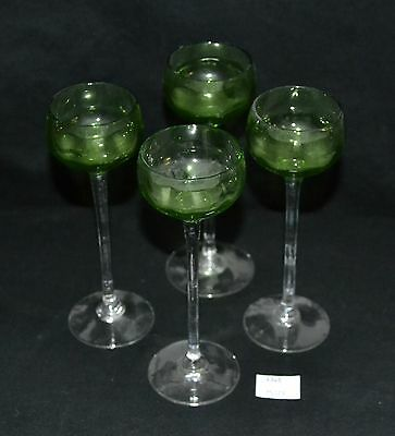 ThriftCHI ~ Set of 4 Green Glass Cordials - Maker Unknown