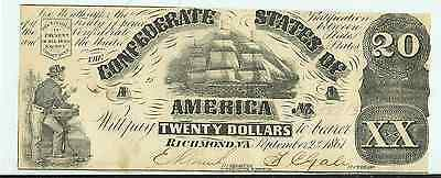 1861 $20.00 CONFEDERATE STATES CURRENCY BILL with Sailing ship  Richmond Va