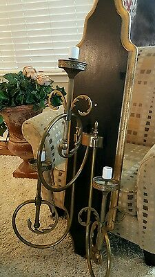 "51"" Vtg French Empire Wood Mounted  Flame Cut Brass 3 Arm Wall Torchiere Lamp"