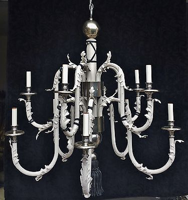 Huge Empire White Tole Silver 12 Light Chandelier Leather Trim High End Designer