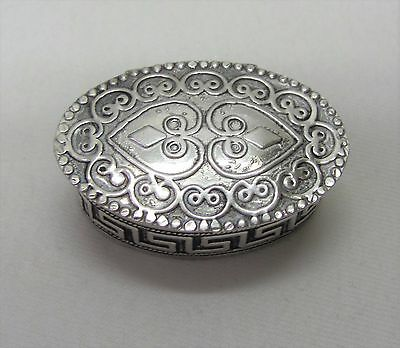 Unusual 935 Sterling Silver Oval Shaped Pill Box
