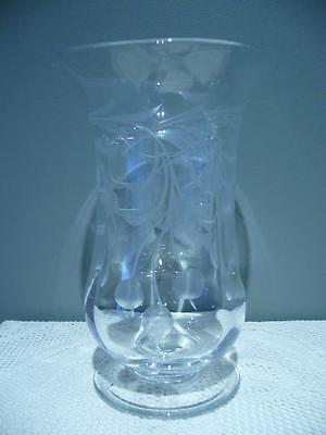 Stunning Vintage Etched Crystal Footed Vase - Cherries - Very Good Condition