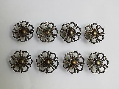 Lot of 8 Antique Brass Cabinet Knobs, 2 inches, England