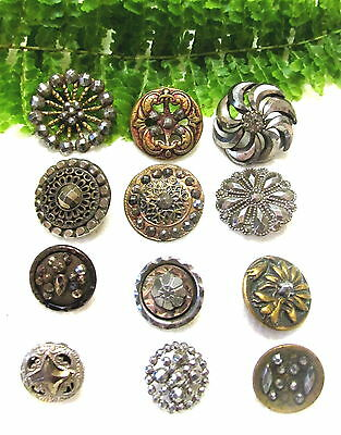 Sparkly Lot Of Victorian Cut Steel Buttons P19