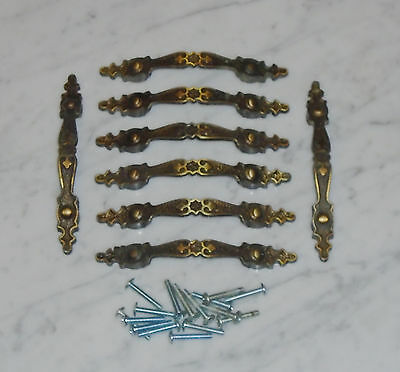 8 Vintage Gothic Cabinet Drawer Pull Handles in Hammered 2 tone Brass