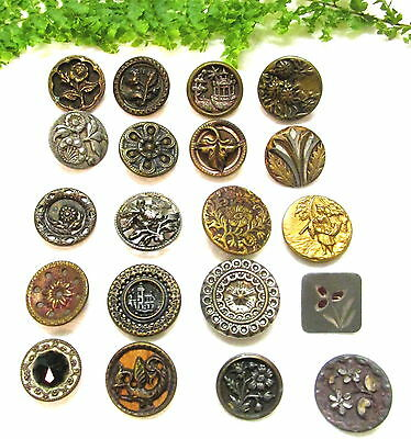 20 Small Victorian Metal Buttons W/ Different Designs P30