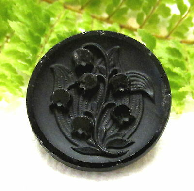 Victorian Black Glass Button W/ Lily Of The Valley Flowers P58
