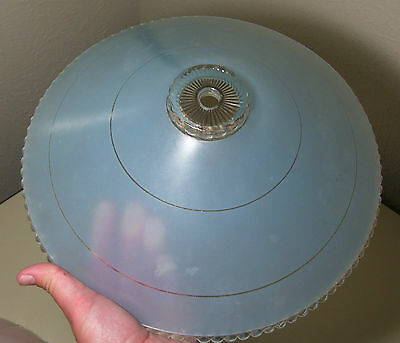 "Vintage 11.5"" Mid Century Modern Blue Frosted Glass Ceiling Light Fixture Shade"